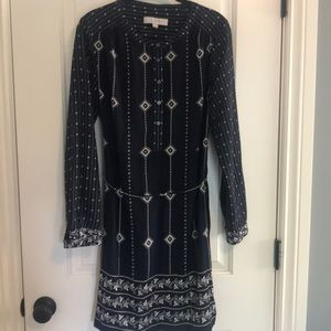 Loft navy patterned shirt dress